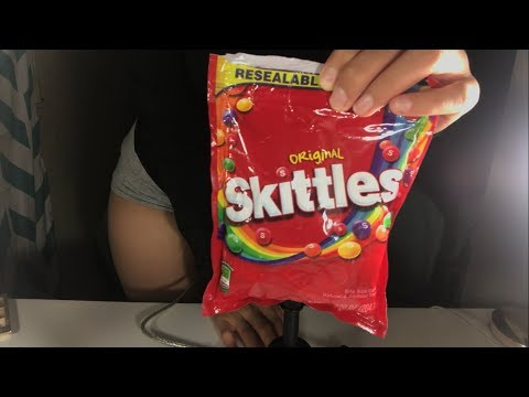 SKITTLES Asmr- (crinkling ,chewing sounds) 💘