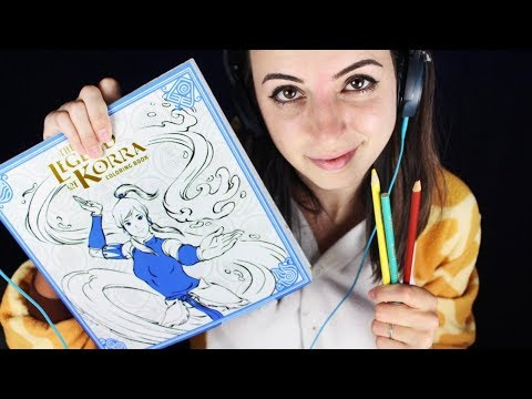 [ASMR] Legend of Korra Coloring Book (Colored Pencils, Close up Whispers, Page Turning)