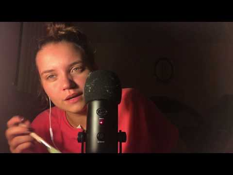 ASMR Mic Brushing with Whispering/Ear Blowing/Trigger Words