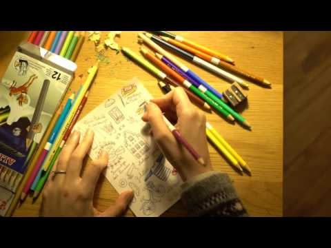 ASMR Colouring Barcelona Sketch No 2 | Colouring Pencils | No Talk