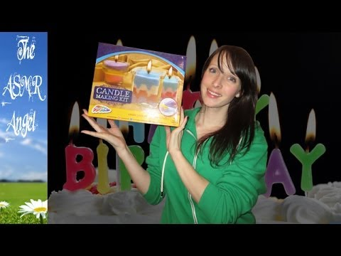 ASMR Birthday Present Haul with whispering, crinkling, paper & microphone brushing