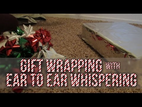 [BINAURAL ASMR] Gift Wrapping with Ear-to-Ear Whispering (paper crinkling, sticky tape, scissors)