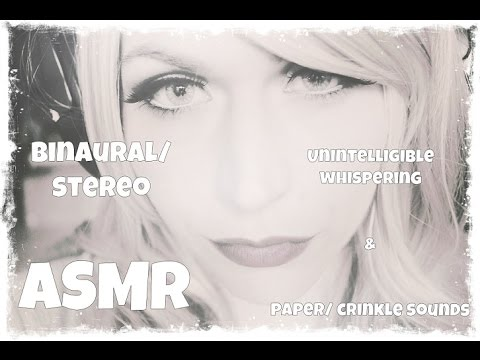 ASMR Unintelligible Whispering & Paper, Crinkle Sounds [Binaural/ Stereo Audio Soundscape]
