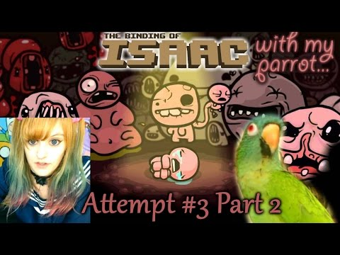 Binding of Isaac Let's Play【with my Parrot】3rd Attempt: Part 2 ~ BabyZelda Gamer Girl