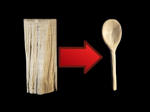 ASMR Carving a wooden spoon