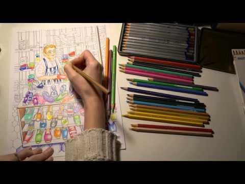 ASMR Part 2 Relaxing with Giotto Stilnovo Colour Pencils   No Talk   LITTLE WATERMELON