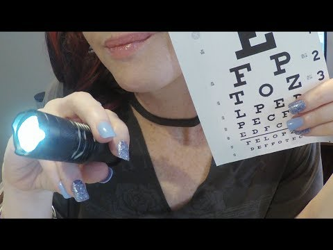 ASMR Gum Chewing Eye Exam Role Play.  Whispered Personal Attention