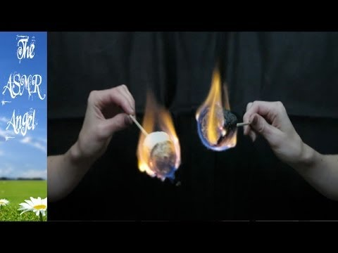 ASMR Binaural Toasting Marshmallows with eating and flame sounds